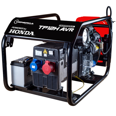 Honda - rámová profesionální elektrocentrála TP 12 H AVR s podvozkem